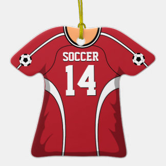 Personalized Red/White Soccer Jersey 14 V1 Christmas Ornaments