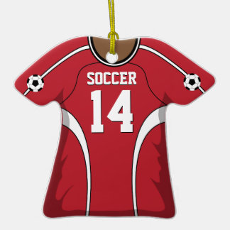 Personalized Red/White Soccer Jersey 14 V2 Ornaments