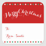 Personalized Red White Square Christmas Gift Tags Square Sticker