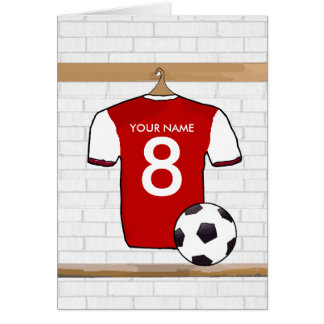 Personalized Red with White Football Soccer Jersey Greeting Cards