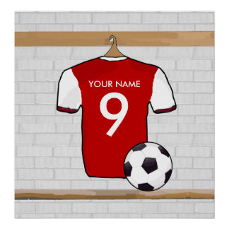 Personalized Red with White Football Soccer Jersey Poster
