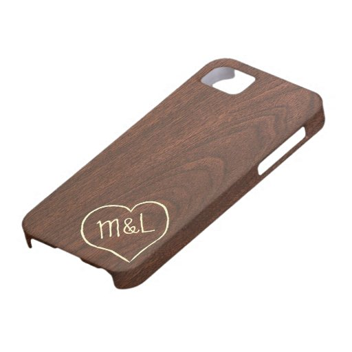 Personalized Red Wood Texture w/ heart & initials iPhone 5 Case