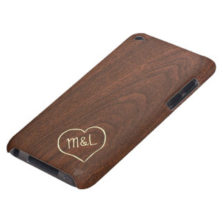 Personalized Red Wood Texture with hear & initials Barely There iPod Case