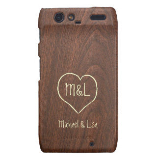 Personalized Red Wood Texture with Heart Droid RAZR Cases