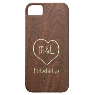 Personalized Red Wood Texture with Heart iPhone 5 Cases