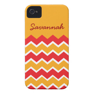 Personalized Red Yellow Chevron iPhone 4 Case