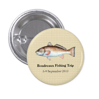 Personalized Redfish Fishing Event 1 Inch Round Button