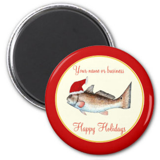 Personalized  Redfish Santa Christmas Magnet