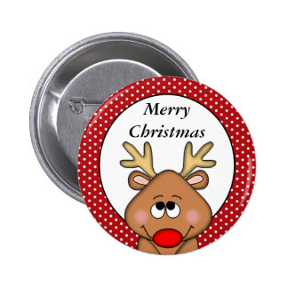 Personalized Reindeer Christmas Button