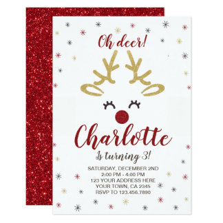 Personalized Reindeer Invitation