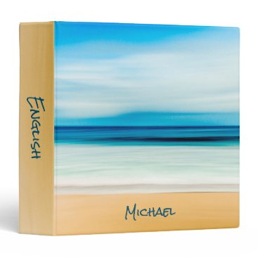 Beach Themed Personalized Relaxing Sandy Beach Blue Sky Horizon Binder