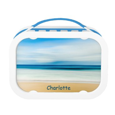 Beach Themed Personalized Relaxing Sandy Beach Blue Sky Horizon Lunch Box