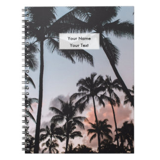 Personalized Relaxing Tropical Palm Trees Sunset Notebook
