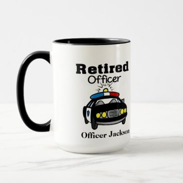 Coffee Themed Personalized Retired Police Officer Coffee Mug