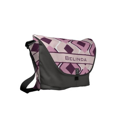 Personalized Retro Black Rose and Blossom Diamonds Courier Bags