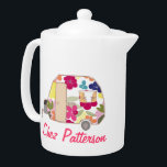 """Personalized Retro Caravan Owner&#39;s Tea Pots Teapot<br><div class=""""desc"""">See the full range of 25 Retro Caravans by Trina Esquivelzeta @SurfaceHug on various other products in the collection below.</div>"""