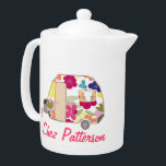 "Personalized Retro Caravan Owner&#39;s Tea Pots Teapot<br><div class=""desc"">See the full range of 25 Retro Caravans by Trina Esquivelzeta @SurfaceHug on various other products in the collection below.</div>"