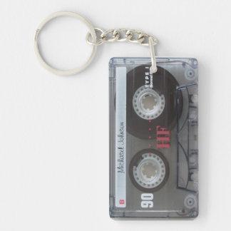 Personalized retro Cassette mix-tape Single-Sided Rectangular Acrylic Keychain