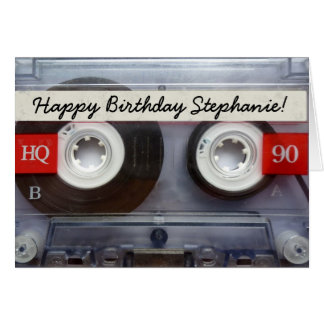 Personalized Retro Cassette Tape Birthday Card