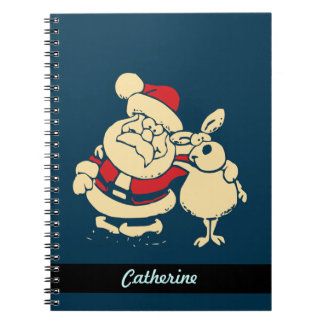 Personalized Retro Christmas Santa and Reindeer Notebook
