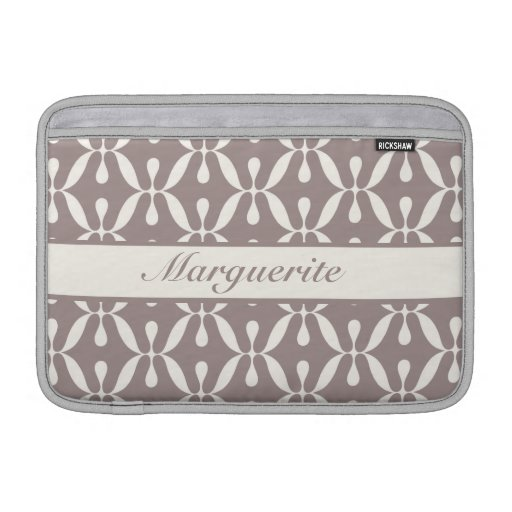 Personalized Retro Dusty Grey Circles and Swirls MacBook Air Sleeve