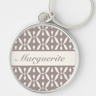 Personalized Retro Dusty Grey Circles and Swirls Silver-Colored Round Keychain