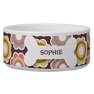 Personalized retro flowers dog bone pet food bowl dog water bowl
