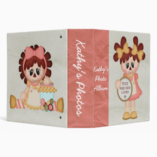 Personalized Retro Girly Raggedy Doll Photo Album Binder