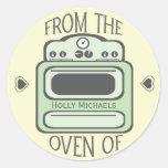 Personalized Retro Green Oven Sticker