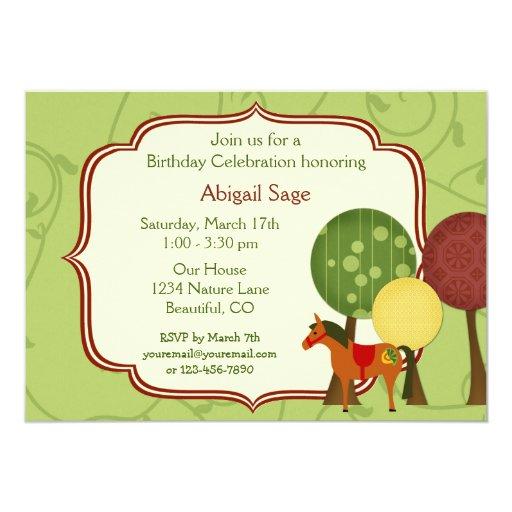 """Personalized Retro Horse and Trees Birthday Invite Invitación 5"""" X 7"""""""