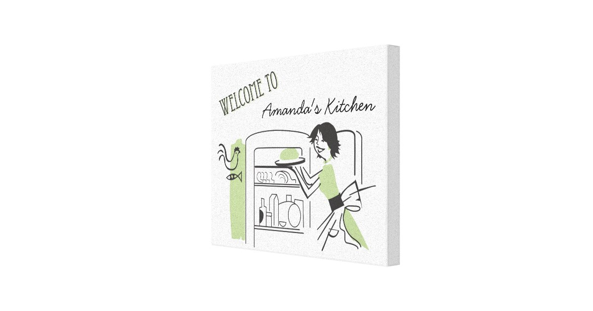 personalized kitchen accessories personalized retro kitchen canvas decor zazzle 1471