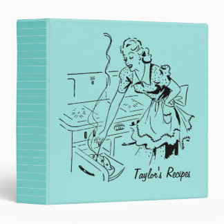 Personalized Retro Mom Cooking Mint Recipe Binder