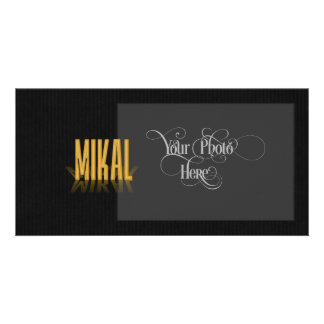 Personalized Retro Movie Poster Mikal Gold Photo Card