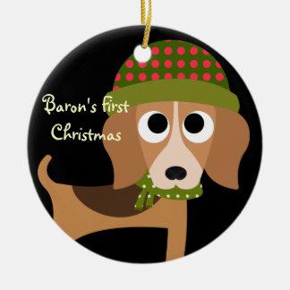 Personalized Retro Pet Dog Christmas Ornament