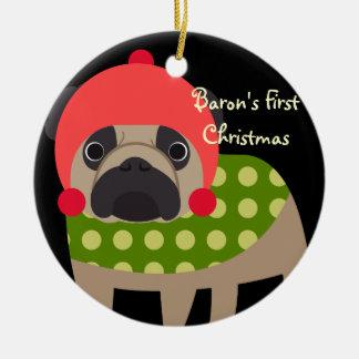Personalized Retro Pet Pug Dog Christmas Ornament