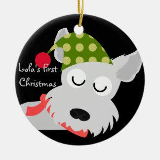 Personalized Retro Pet Terrier Christmas Ornament