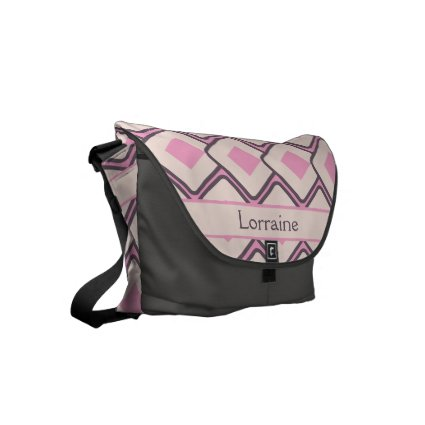 Personalized Retro Pink and Cream Diamond Design Courier Bag