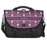 Personalized Retro Pink and Purple Diamond Design Laptop Commuter Bag