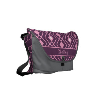 Personalized Retro Pink and Purple Diamond Design Small Messenger Bag
