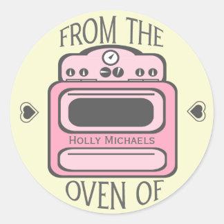 Personalized Retro Pink Oven Sticker