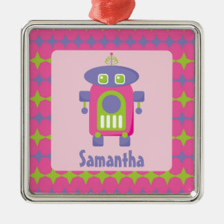Personalized Retro Pink, Purple and Green Robot Ornaments