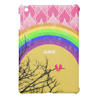 Personalized retro Rainbow Love Bird  iPad Mini Cover For The iPad Mini