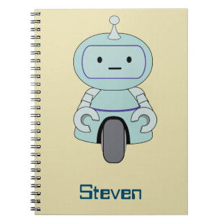 Personalized Retro Robot Illustration Spiral Notebook