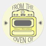 Personalized Retro Yellow Oven Sticker