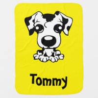 Personalized Reversible Baby Blanket With Puppy