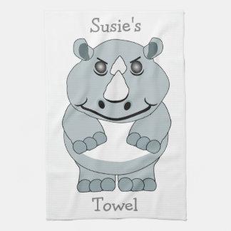 Personalized Rhino Design Hand Towel