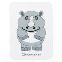 Personalized Rhino Design Swaddle Blanket