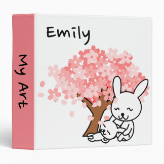 Personalized Ring Binder with Cute Rabbits