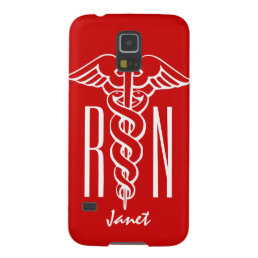 Personalized RN Nurse Galaxy S5 cover | caduceus