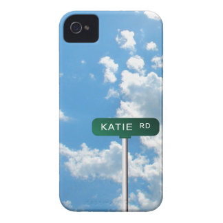 Personalized Road Name Street Sign on Blue Sky Case-Mate iPhone 4 Cases